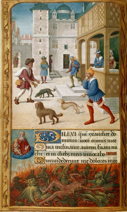 Tilliot Hours - Dives and Lazarus (c. 1500)