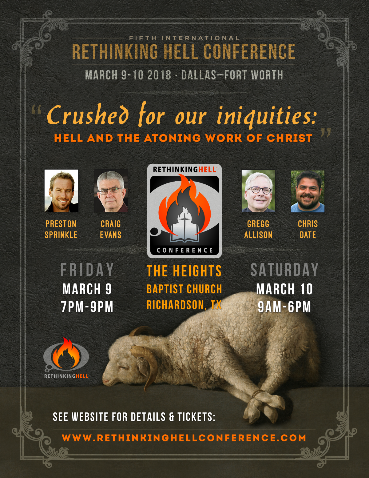 Upcoming Event: Rethinking Hell Conference 2018 in Dallas–Fort Worth (March 9–10)!